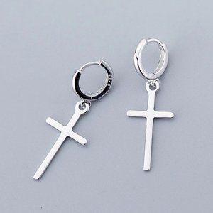 *NEW 925 Sterling Silver Cross Hoop Earrings
